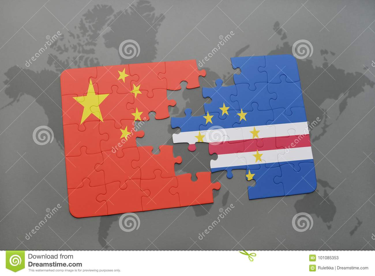 Puzzle With The National Flag Of China And Cape Verde On A World