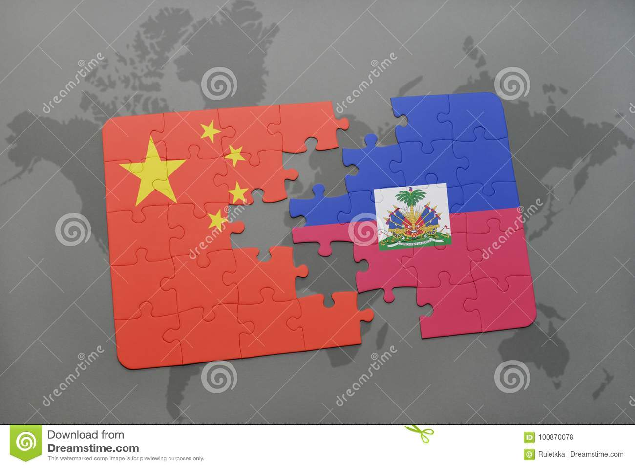 Puzzle with the national flag of china and haiti on a world map download puzzle with the national flag of china and haiti on a world map background gumiabroncs Images