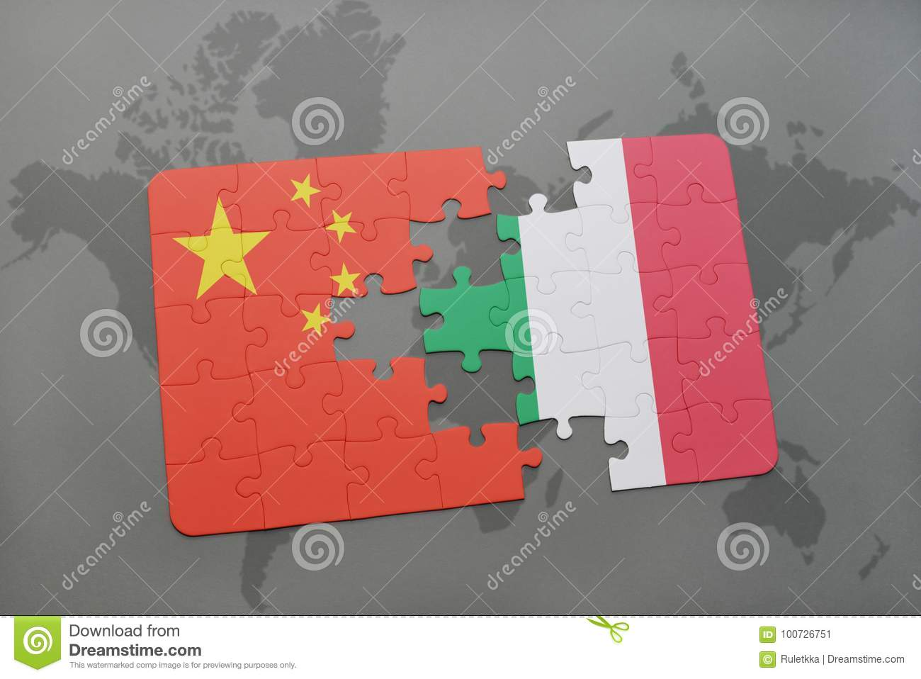 Puzzle with the national flag of china and italy on a world map royalty free stock photo gumiabroncs Choice Image