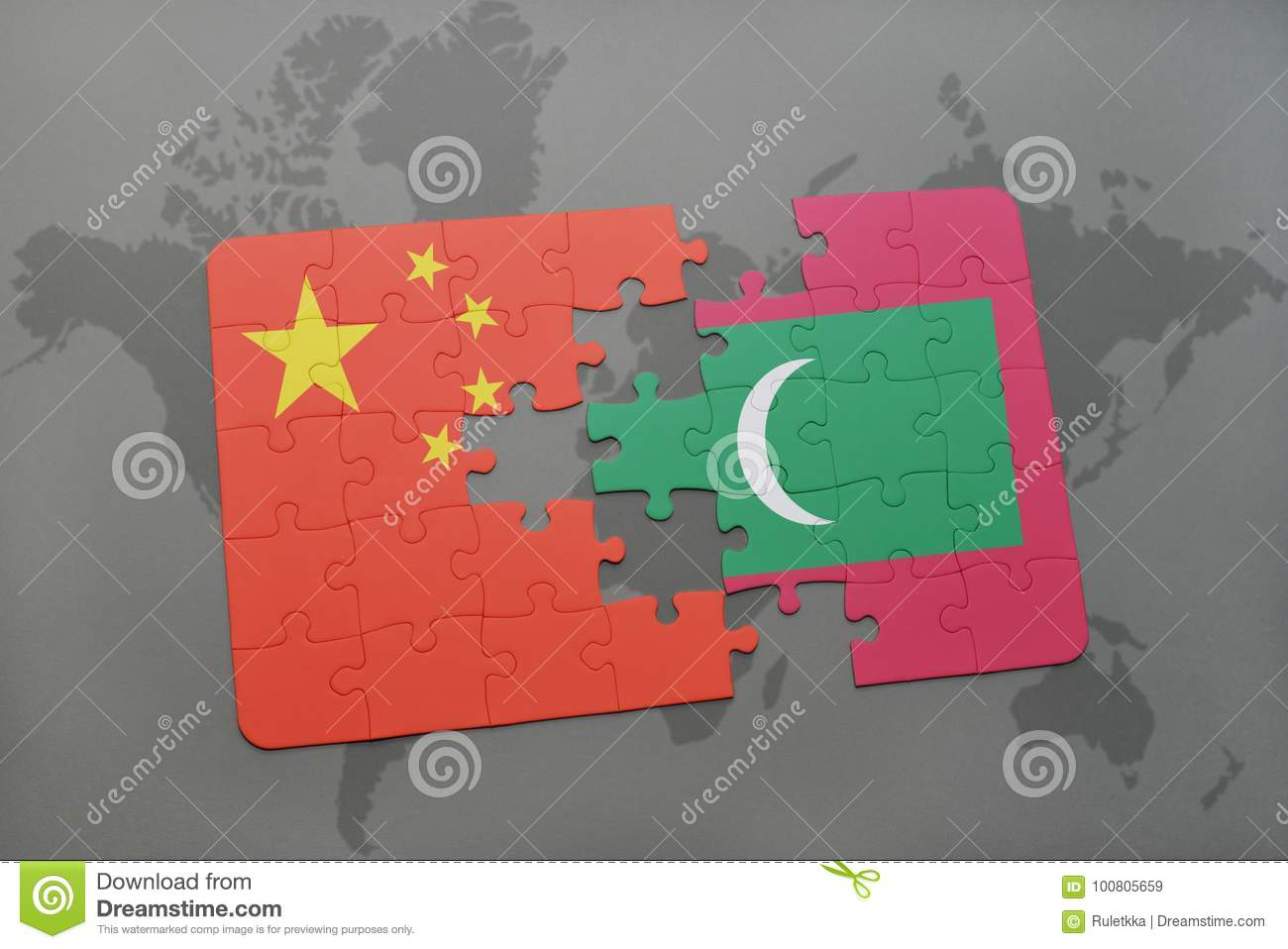 Puzzle with the national flag of china and maldives on a world map download puzzle with the national flag of china and maldives on a world map background gumiabroncs Choice Image