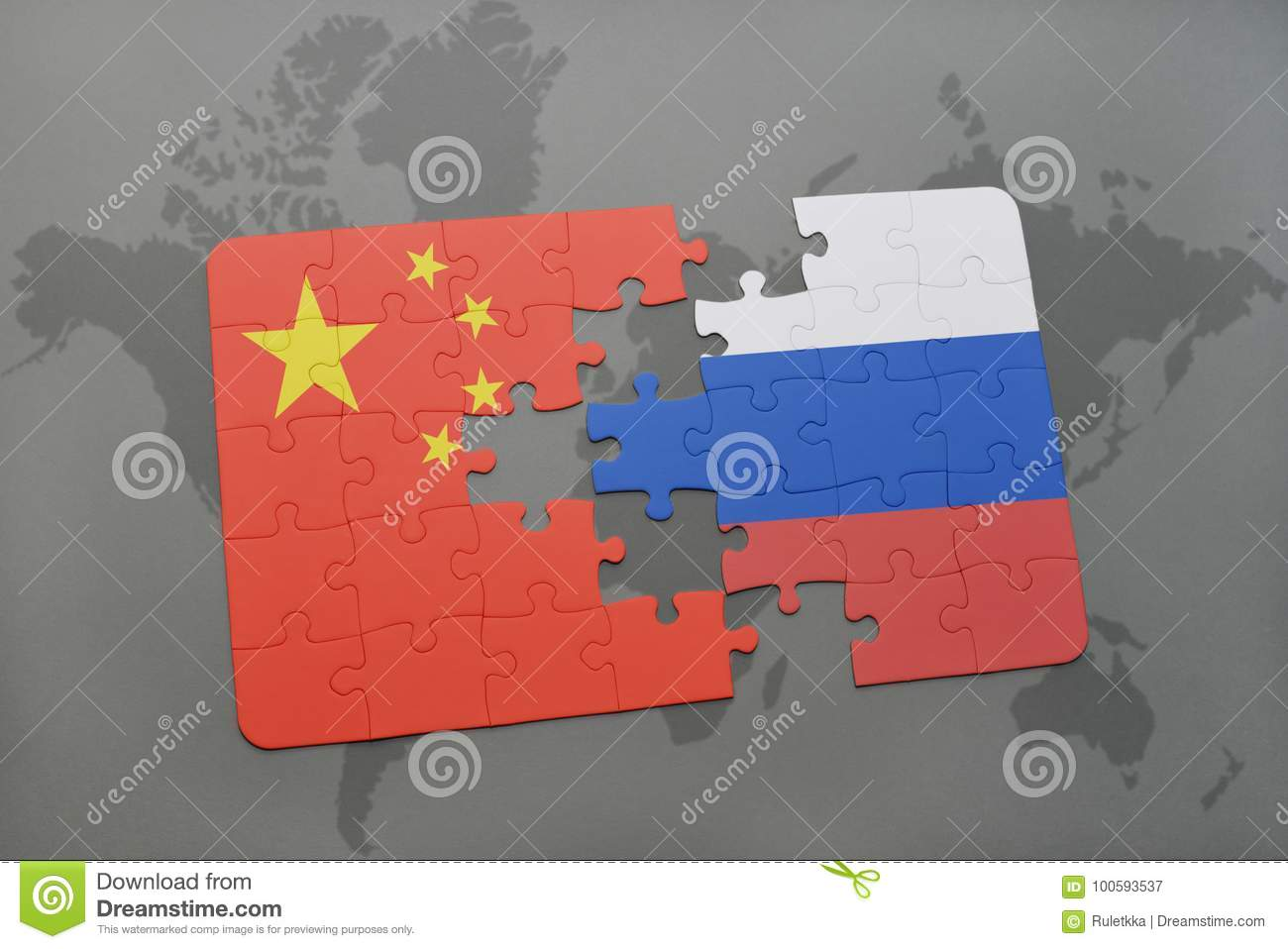 Puzzle with the national flag of china and russia on a world map download puzzle with the national flag of china and russia on a world map background gumiabroncs Choice Image