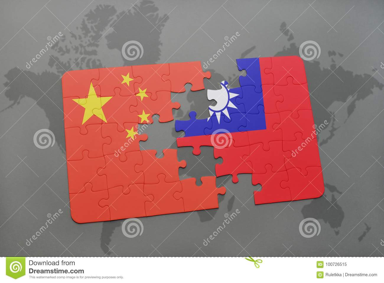Taiwan On A World Map.Puzzle With The National Flag Of China And Taiwan On A World Map