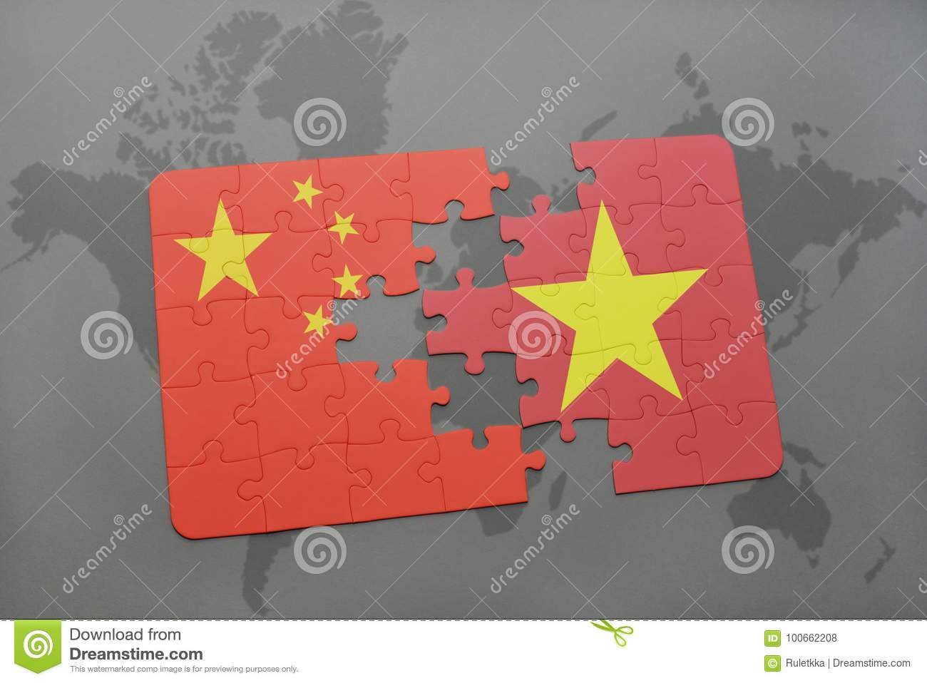 Puzzle with the national flag of china and vietnam on a world map download puzzle with the national flag of china and vietnam on a world map background gumiabroncs Images
