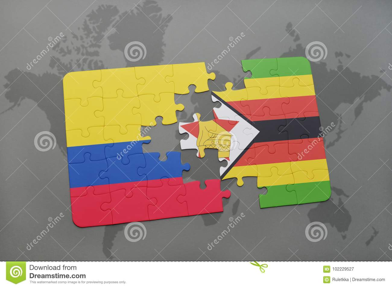 Puzzle With The National Flag Of Colombia And Zimbabwe On A World ...