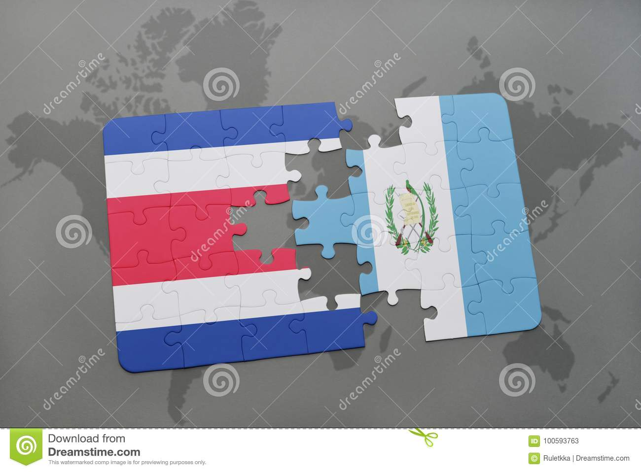 Puzzle With The National Flag Of Costa Rica And Guatemala On A World ...