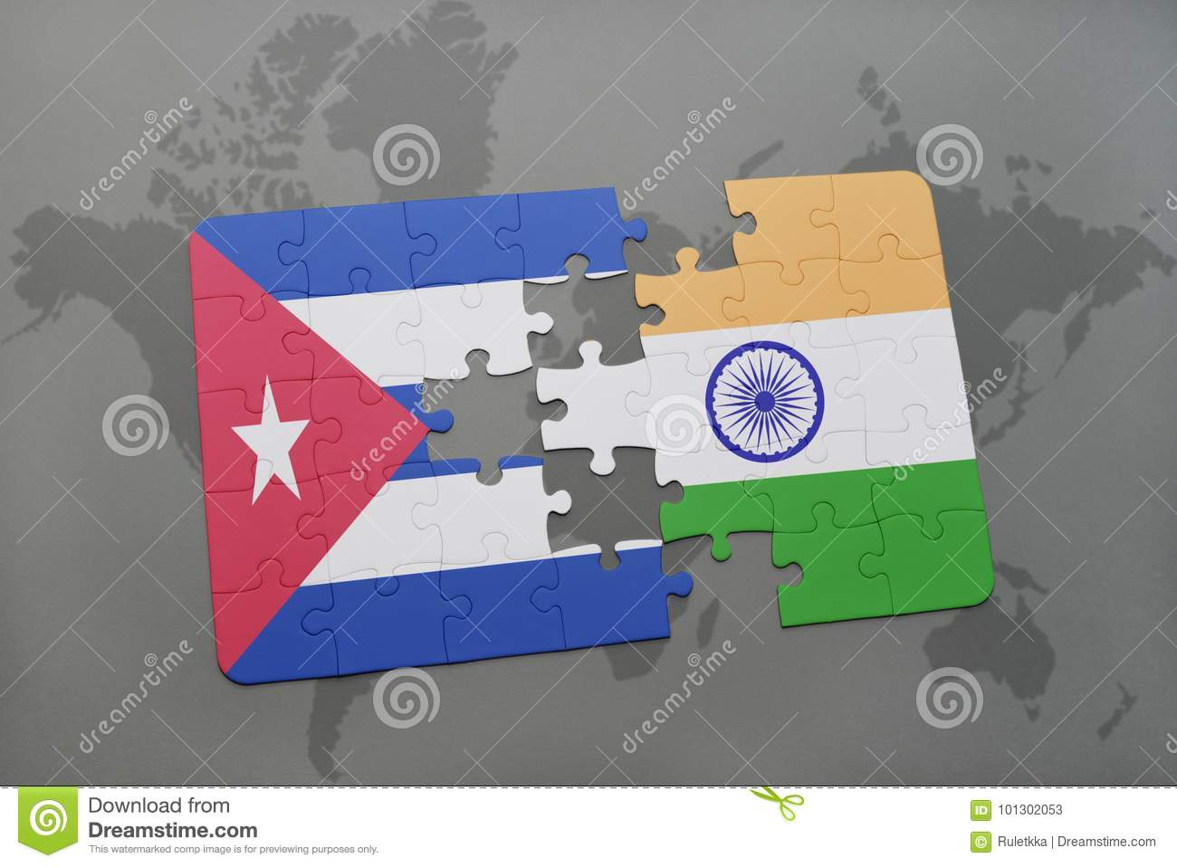 Puzzle with the national flag of cuba and india on a world map download puzzle with the national flag of cuba and india on a world map background gumiabroncs Images