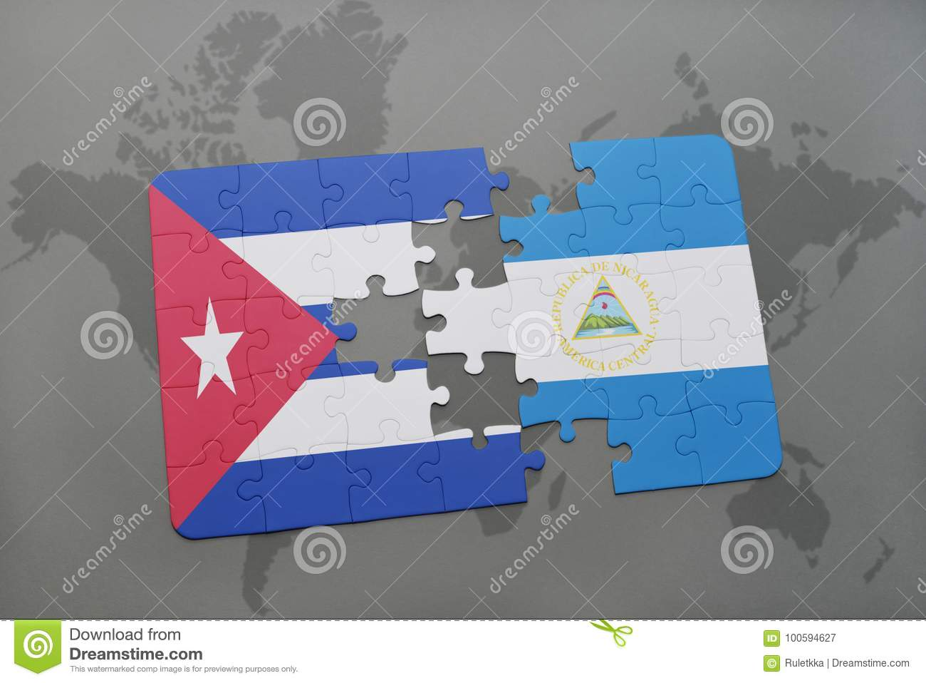 Puzzle With The National Flag Of Cuba And Nicaragua On A World Map ...