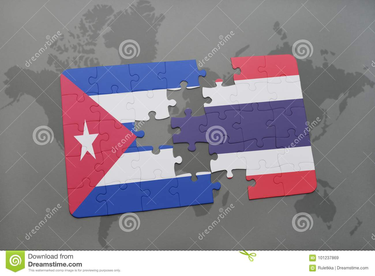 puzzle with the national flag of cuba and thailand on a world map background.