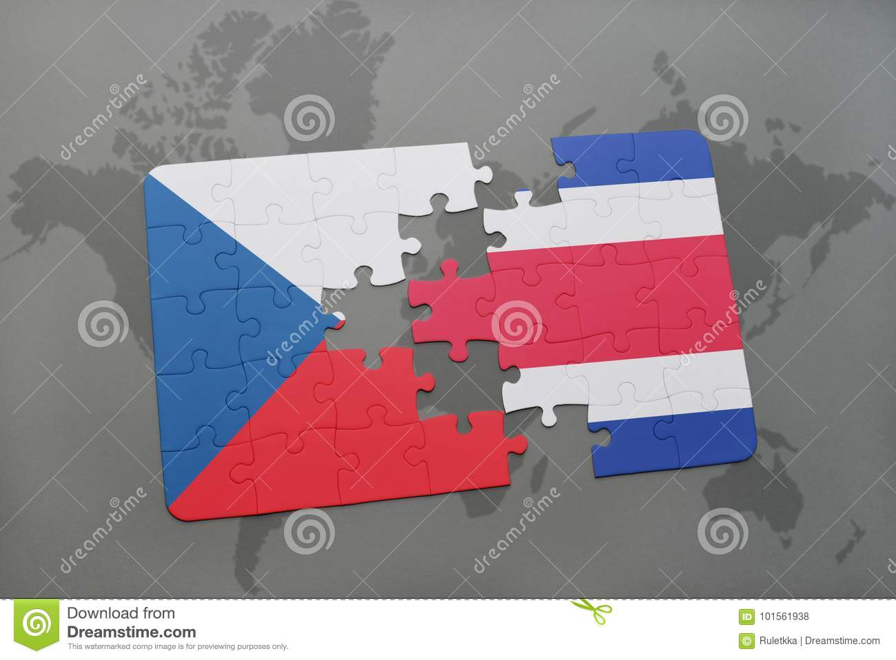 puzzle with the national flag of czech republic and costa rica on a world map