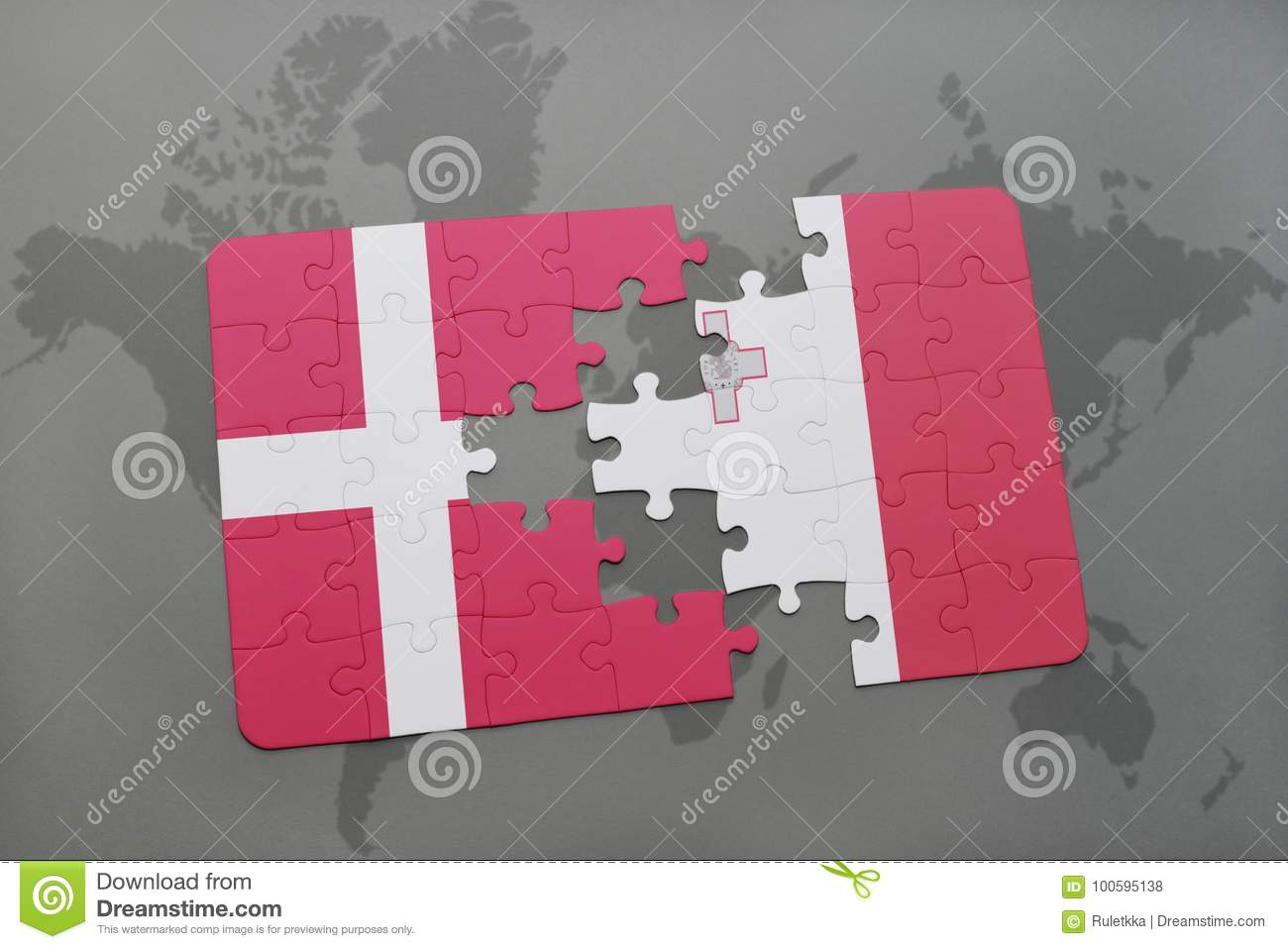 Puzzle With The National Flag Of Denmark And Malta On A World Map ...