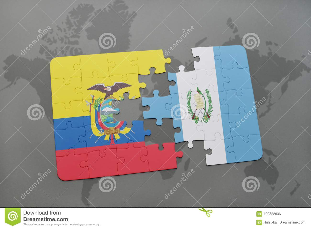 Puzzle with the national flag of ecuador and guatemala on a world royalty free stock photo gumiabroncs Images