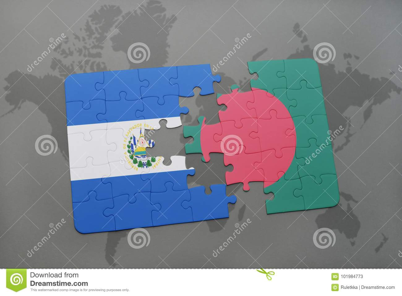 Puzzle with the national flag of el salvador and bangladesh on a download puzzle with the national flag of el salvador and bangladesh on a world map stock gumiabroncs Gallery