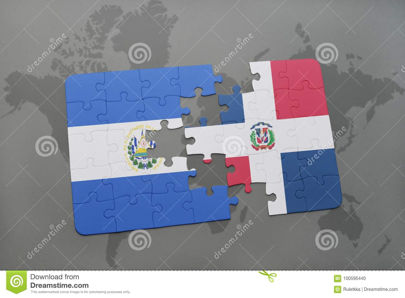 Puzzle with the national flag of el salvador and dominican royalty free stock photo gumiabroncs Choice Image