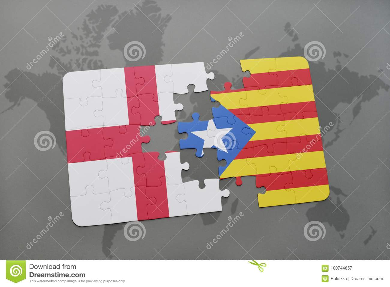 Puzzle with the national flag of england and catalonia on a world royalty free stock photo gumiabroncs Choice Image