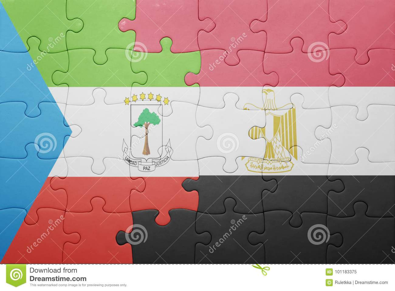 Puzzle With The National Flag Of Equatorial Guinea And Egypt