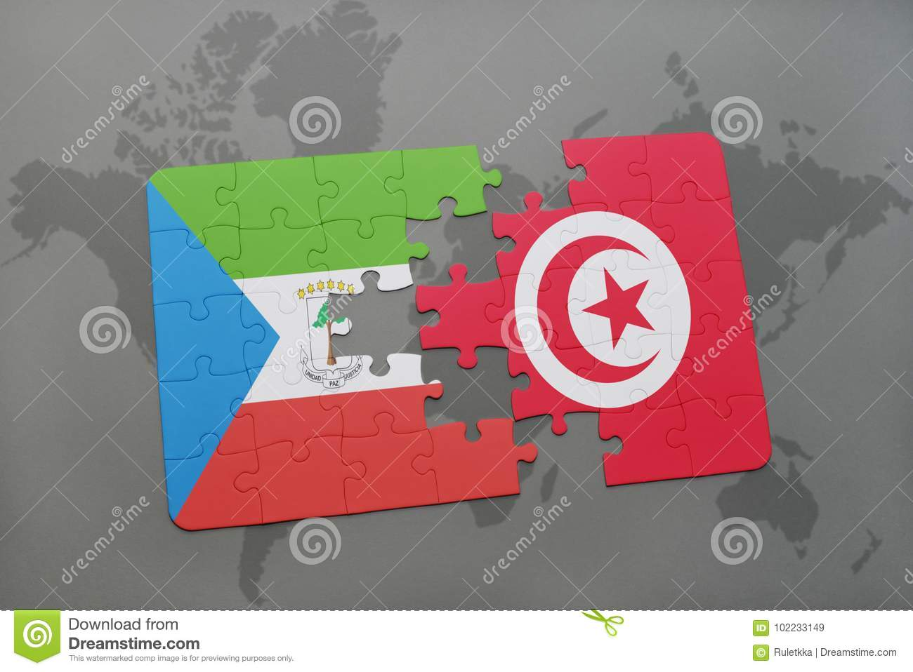 Puzzle With The National Flag Of Equatorial Guinea And