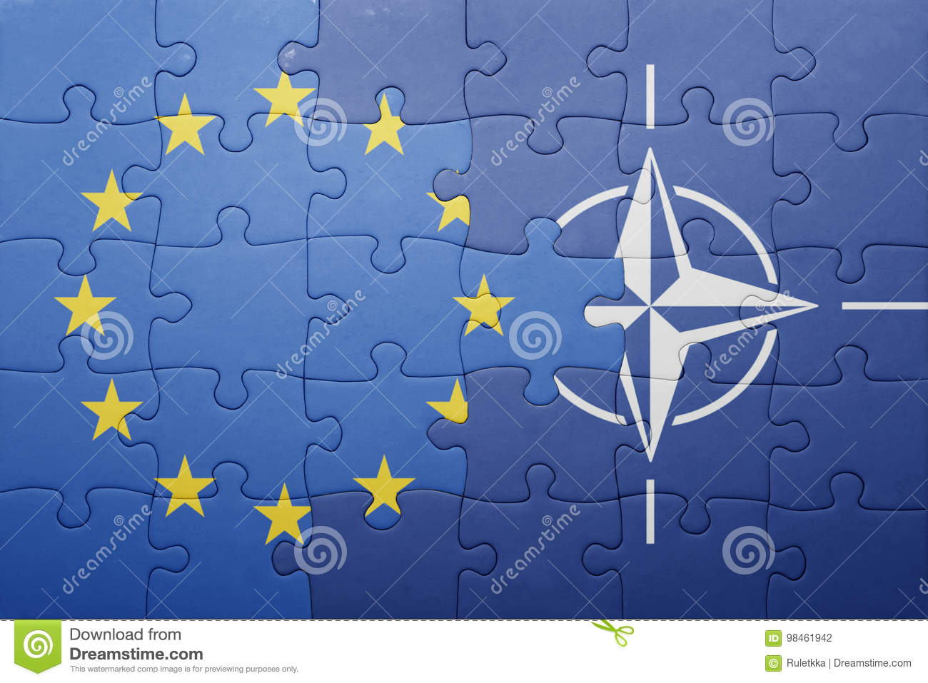 Puzzle with the national flag of european union and nato
