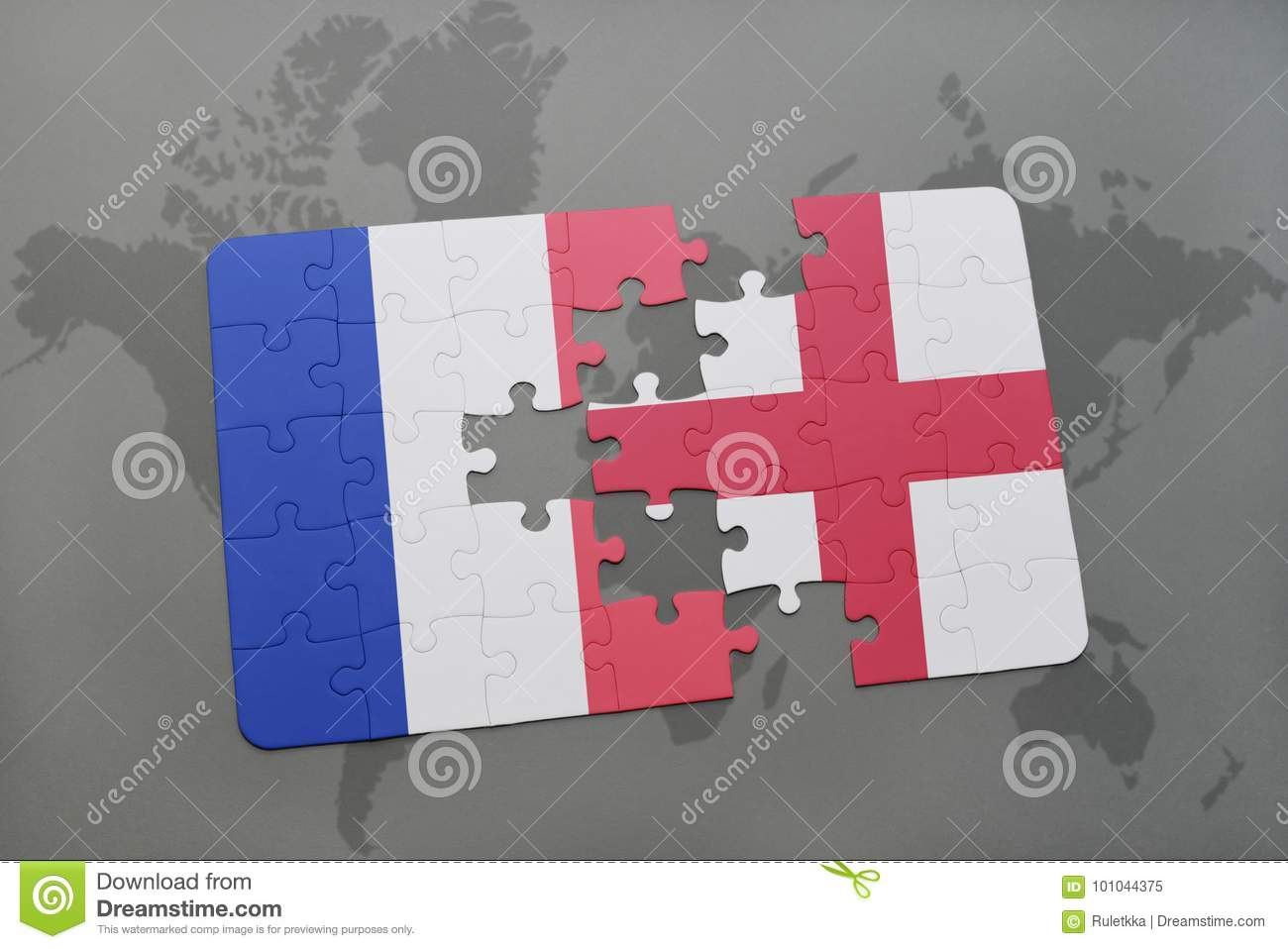World Map Of France And England.Puzzle With The National Flag Of France And England On A