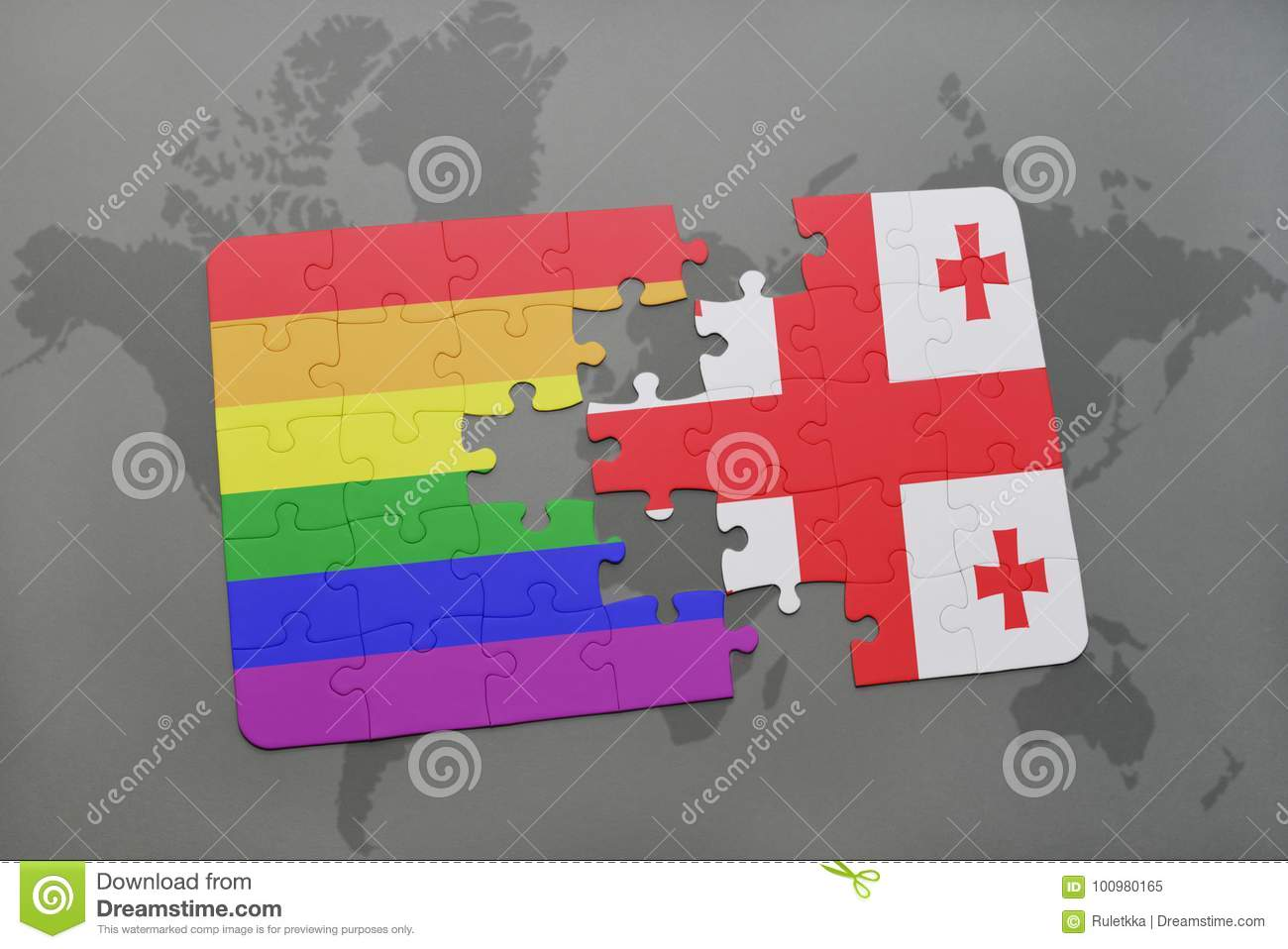 Puzzle With The National Flag Of Georgia And Gay Rainbow Flag On A