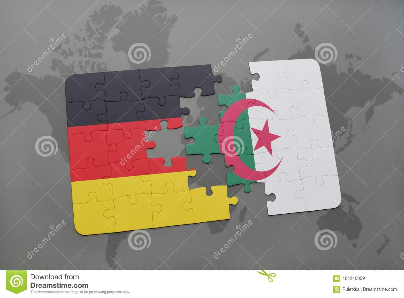 Puzzle With The National Flag Of Germany And Algeria On A World Map ...
