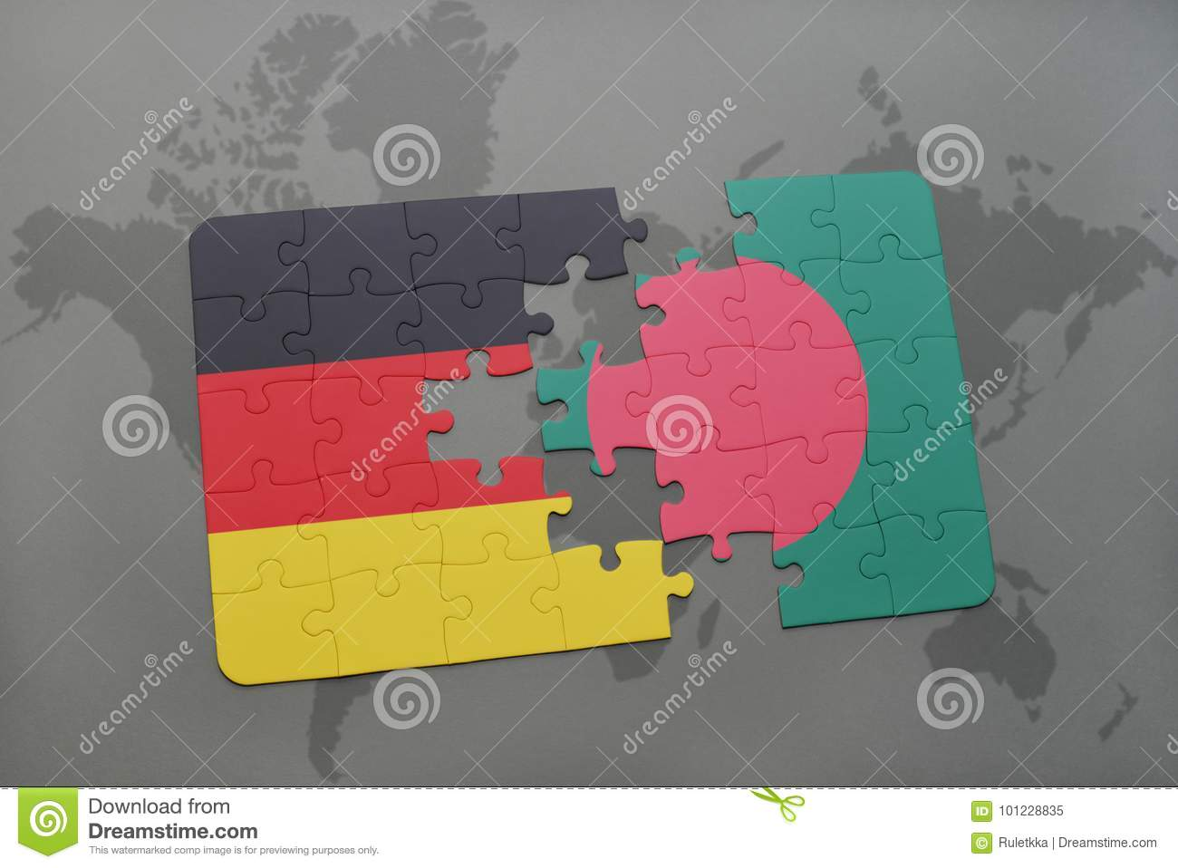 Puzzle with the national flag of germany and bangladesh on a world royalty free stock photo gumiabroncs Choice Image