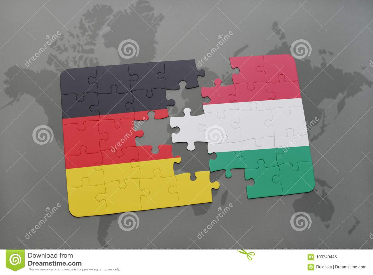 Map Of Germany And Hungary.Puzzle With The National Flag Of Germany And Hungary On A World Map