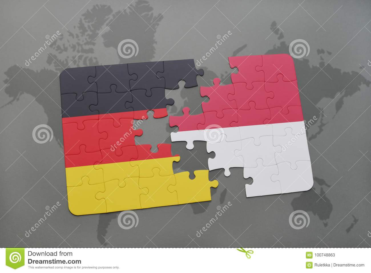 Puzzle with the national flag of germany and indonesia on a world download comp gumiabroncs Images