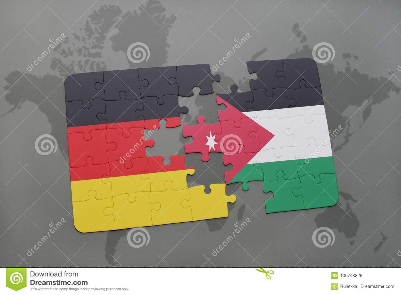 Puzzle With The National Flag Of Germany And Jordan On A World Map ...