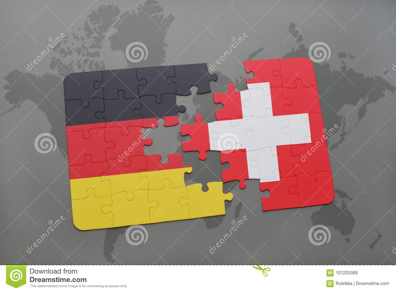 Puzzle With The National Flag Of Germany And Switzerland On A World