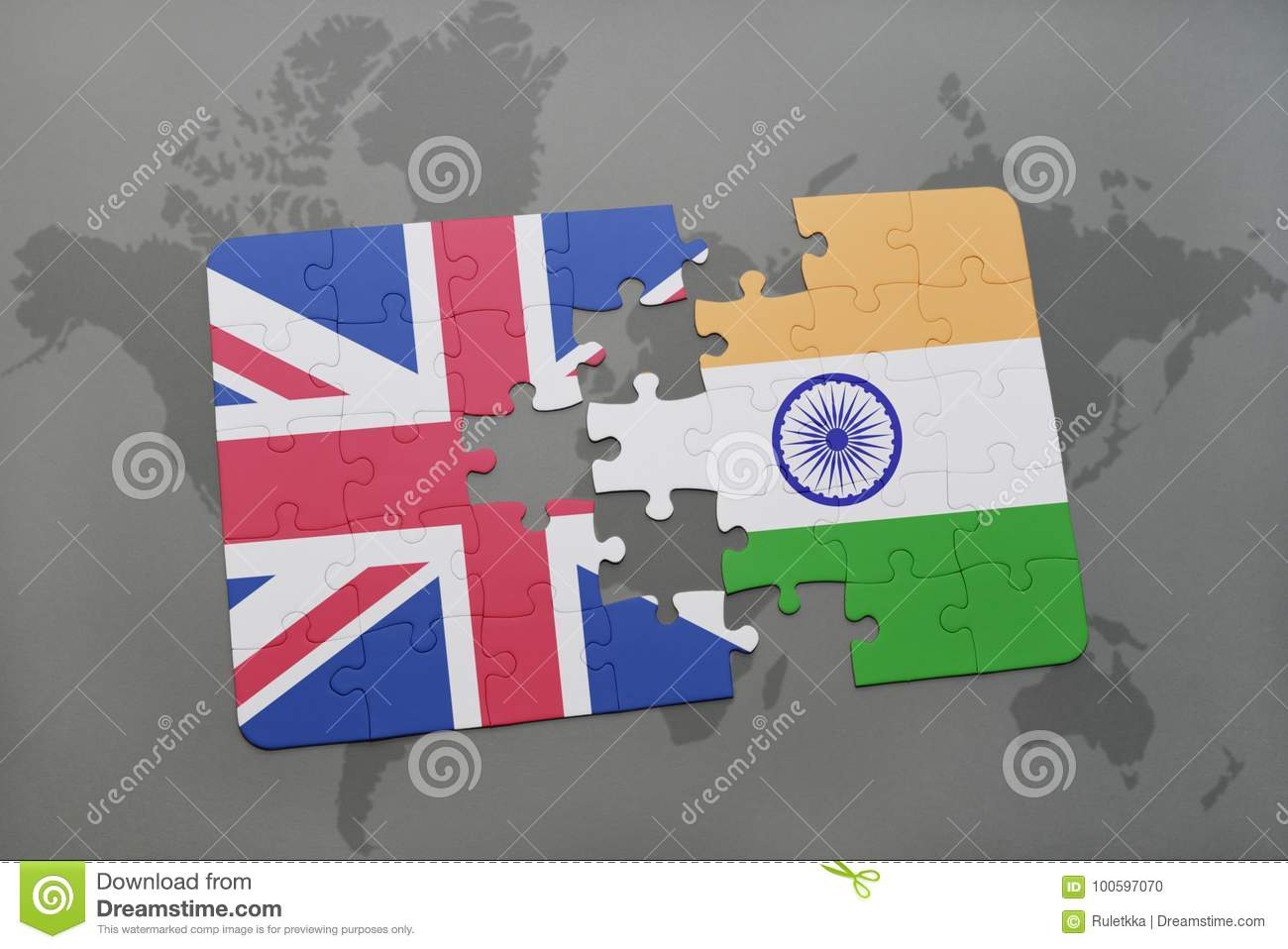 Puzzle With The National Flag Of Great Britain And India On A World