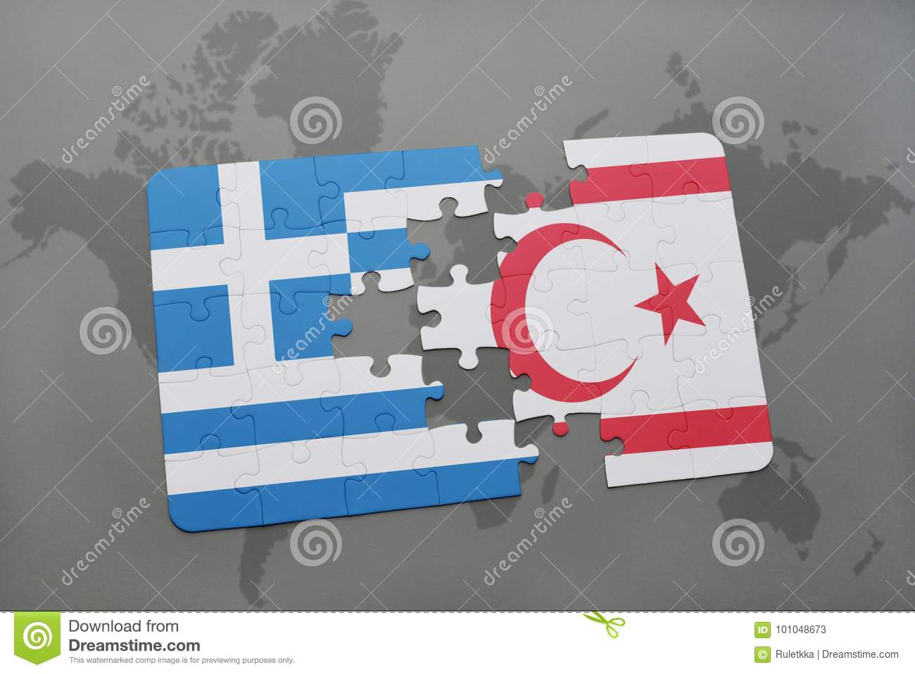 Puzzle with the national flag of greece and northern cyprus on a download puzzle with the national flag of greece and northern cyprus on a world map background gumiabroncs Images