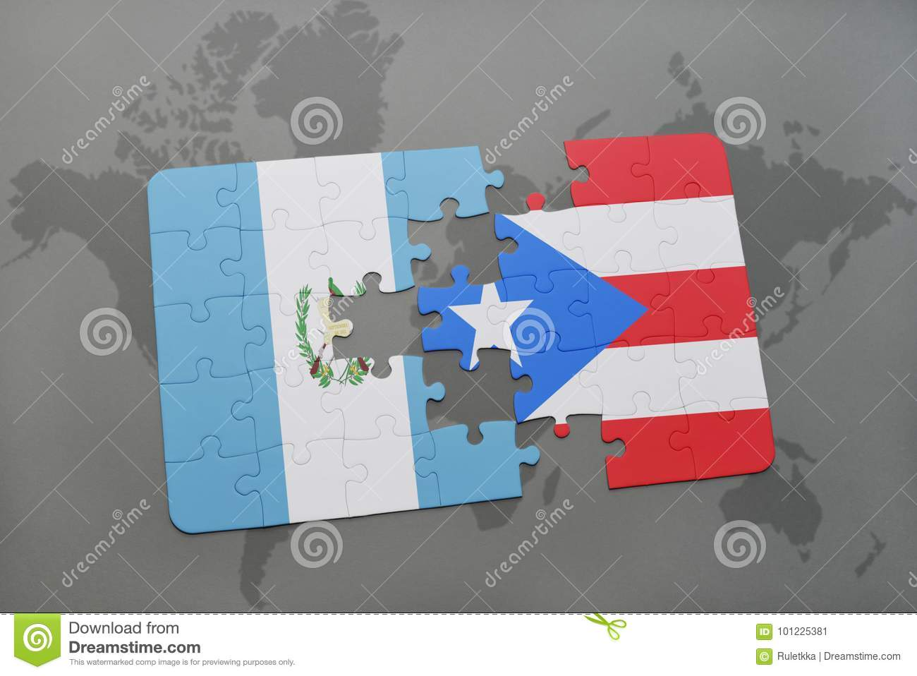 Puzzle With The National Flag Of Guatemala And Puerto Rico On A ...
