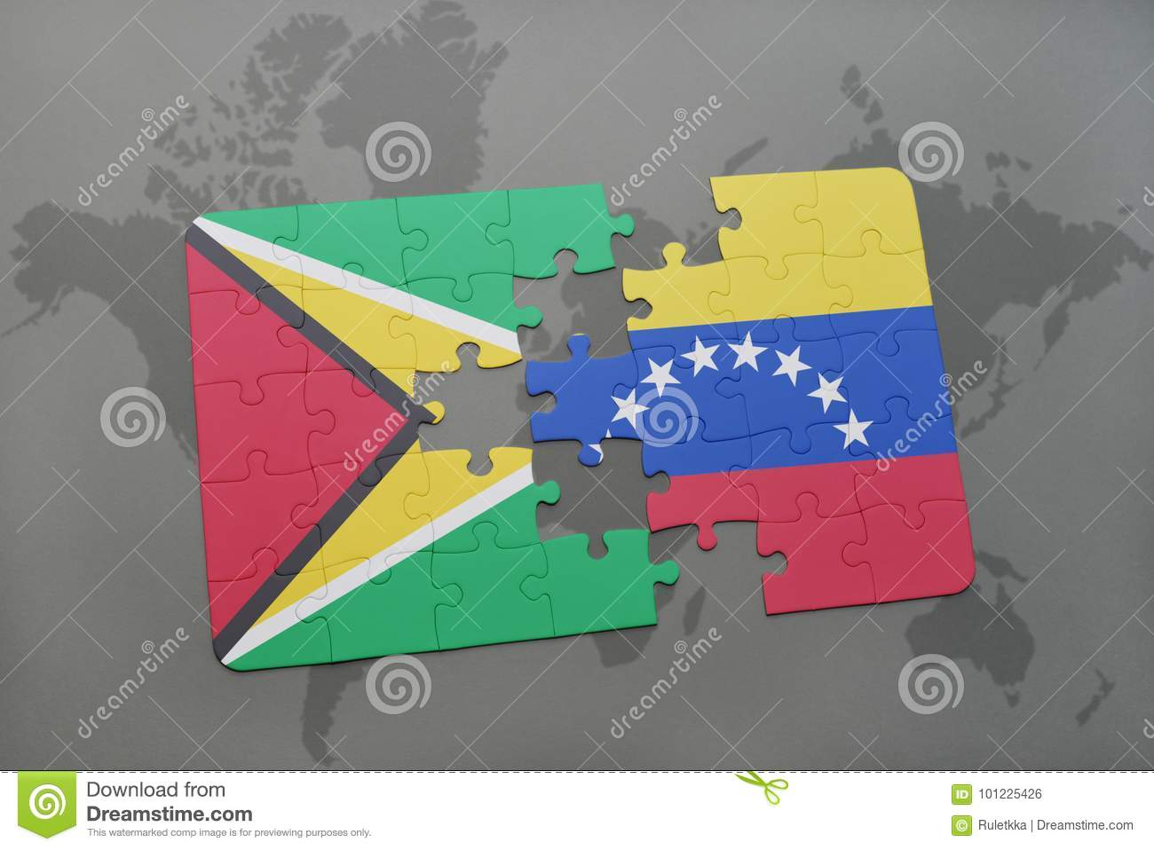 Puzzle with the national flag of guyana and venezuela on a world map royalty free stock photo gumiabroncs Images