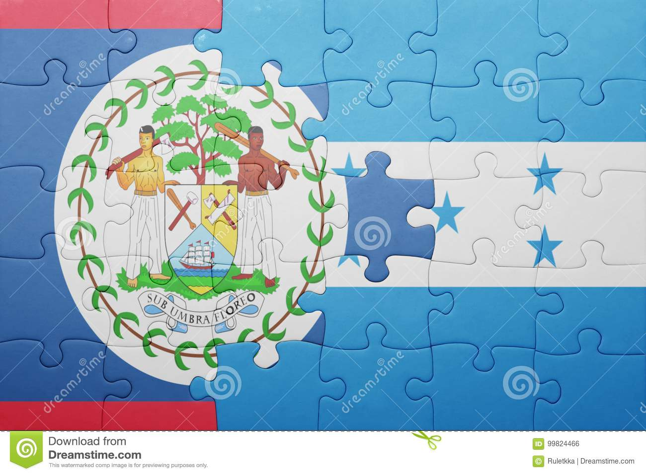 Puzzle With The National Flag Of Honduras And Belize Stock ...