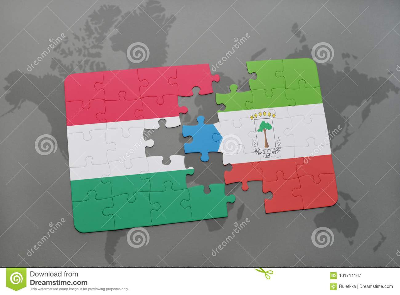 Puzzle With The National Flag Of Hungary And Equatorial Guinea On A ...