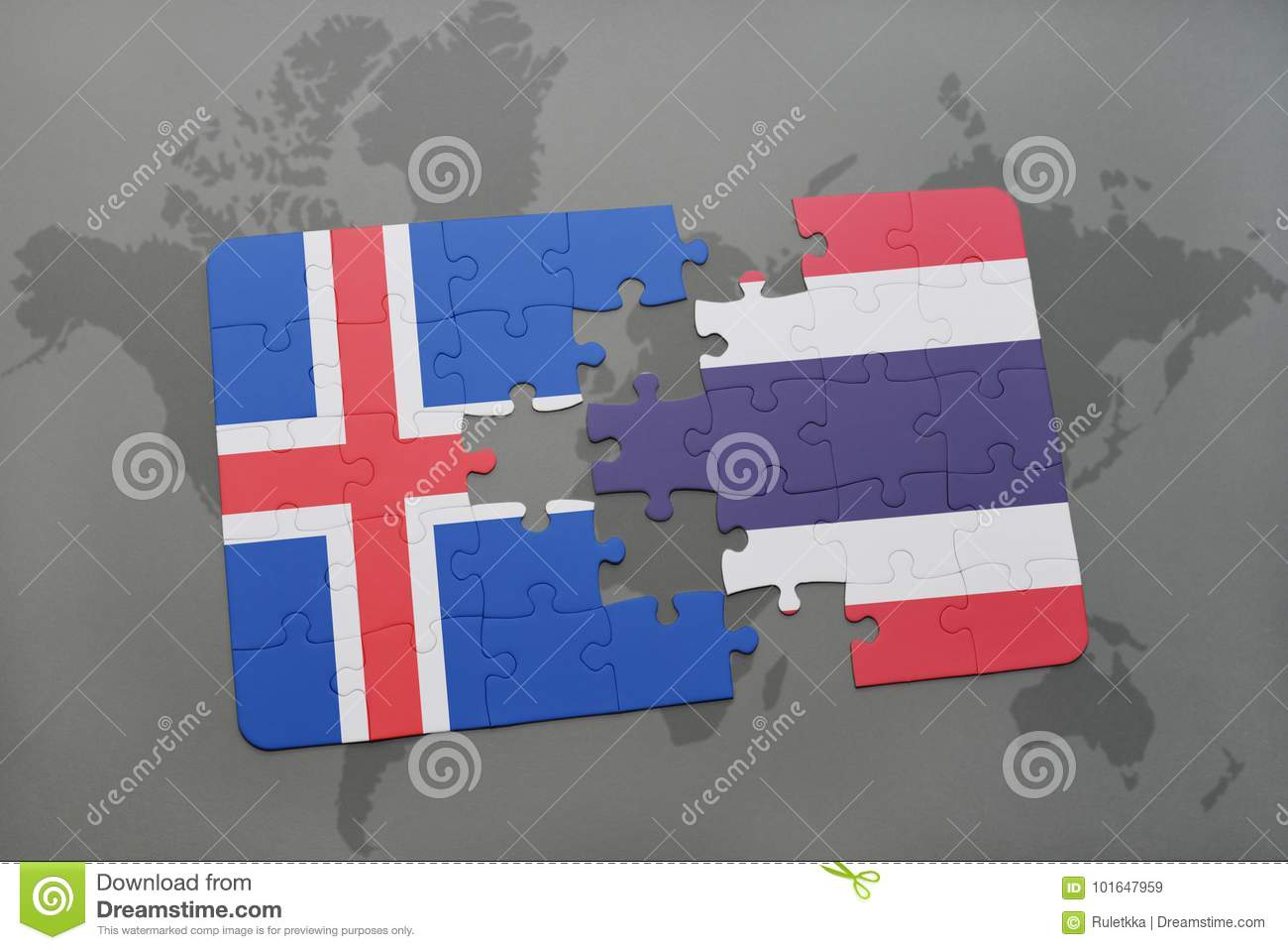 puzzle with the national flag of iceland and thailand on a world map