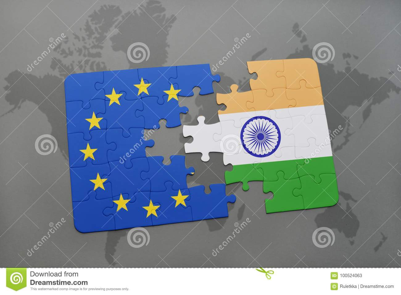 Puzzle With The National Flag Of India And European Union On A World ...