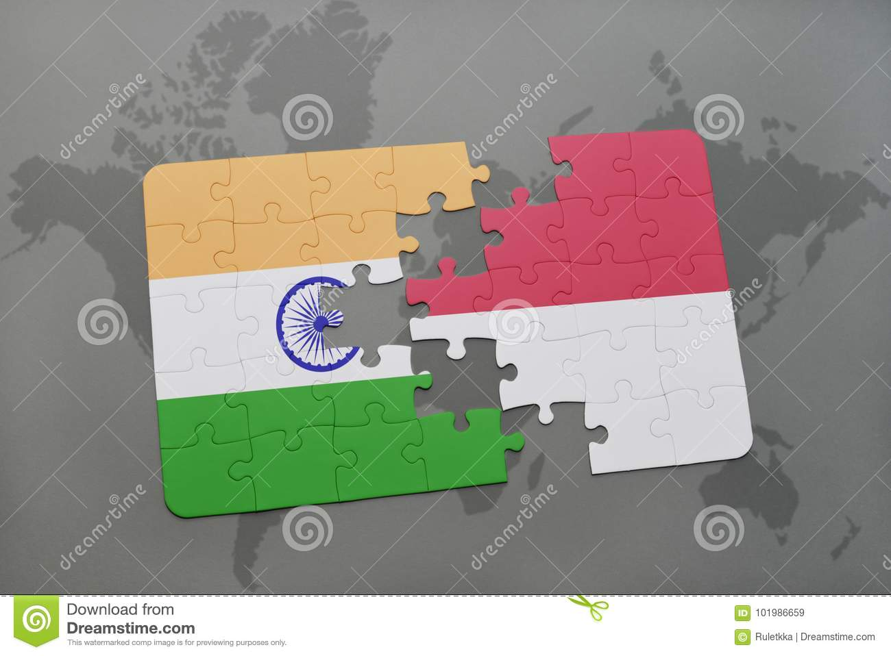Puzzle with the national flag of india and indonesia on a world map download puzzle with the national flag of india and indonesia on a world map background gumiabroncs Choice Image