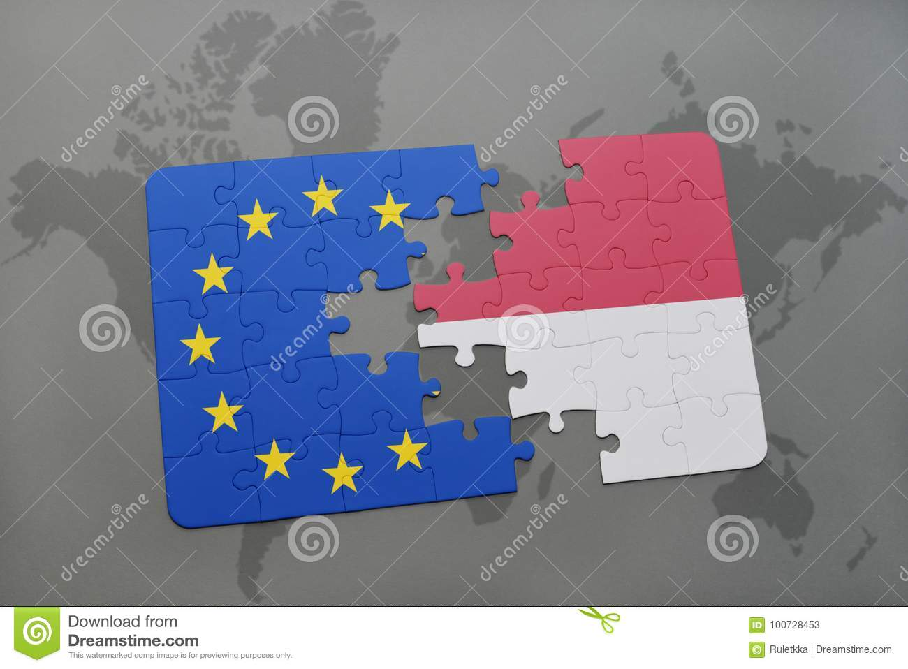 puzzle with the national flag of indonesia and european union on a world map
