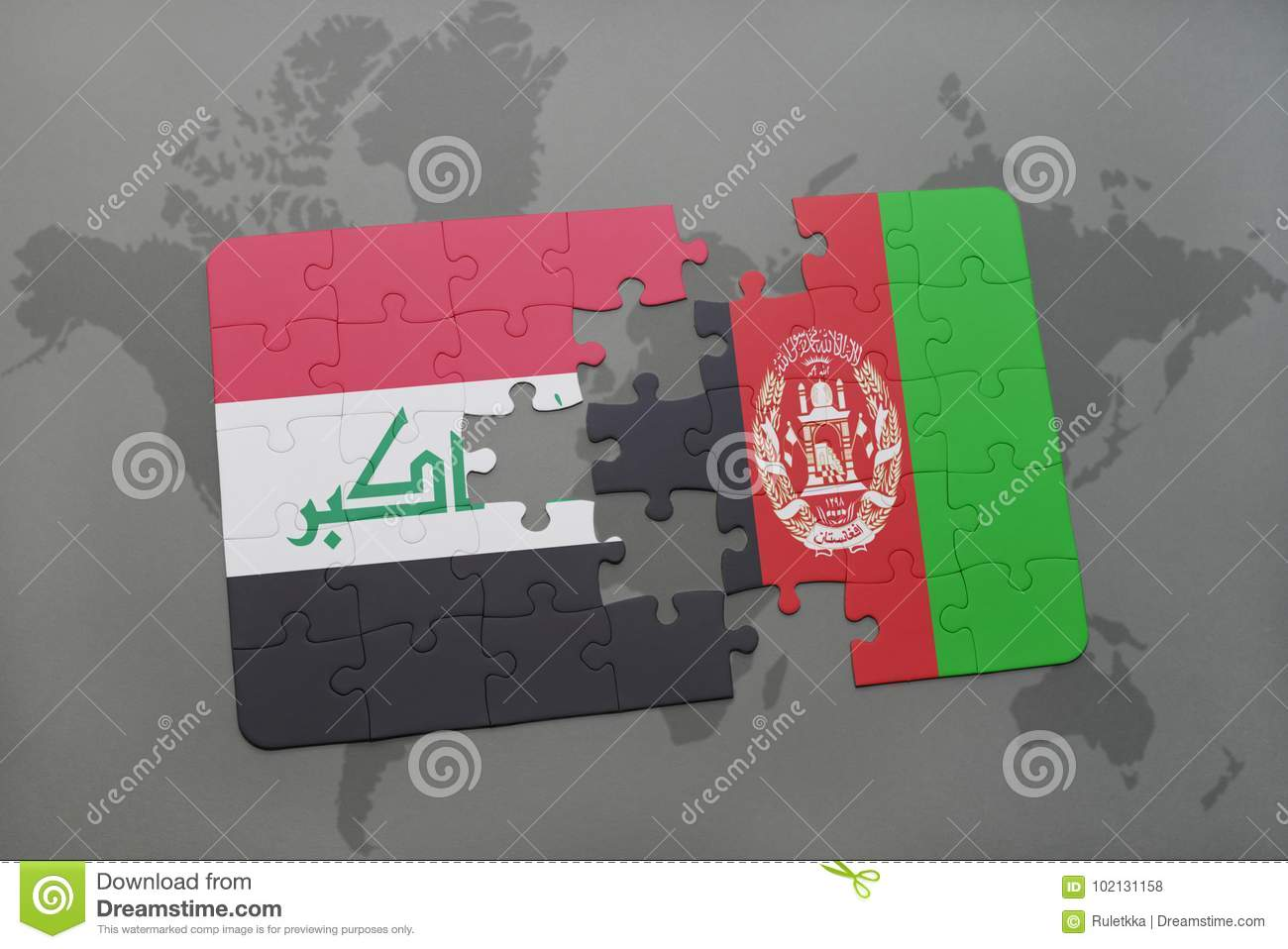 Puzzle with the national flag of iraq and afghanistan on a world map download puzzle with the national flag of iraq and afghanistan on a world map background gumiabroncs Image collections
