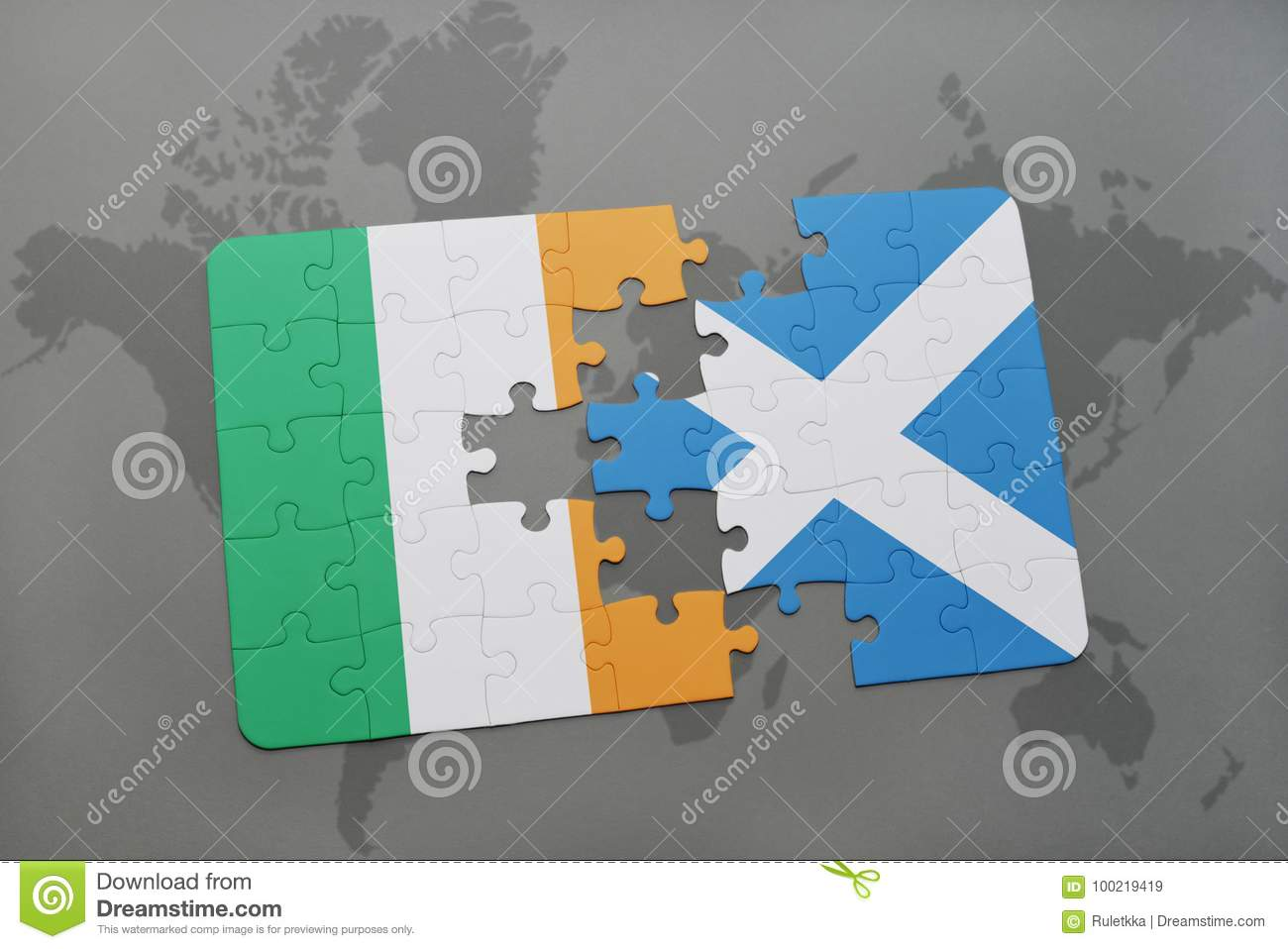 Puzzle With The National Flag Of Ireland And Scotland On A World Map