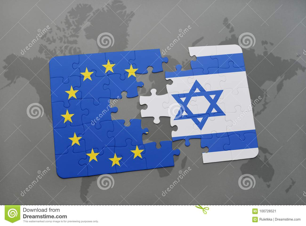 Puzzle with the national flag of israel and european union on a download puzzle with the national flag of israel and european union on a world map stock gumiabroncs Choice Image