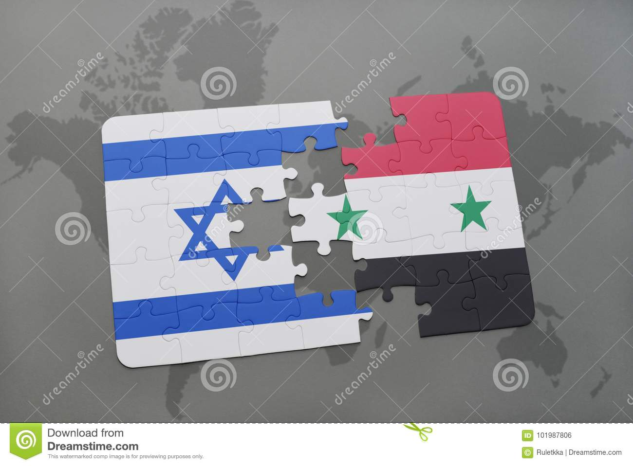Puzzle with the national flag of israel and syria on a world map download puzzle with the national flag of israel and syria on a world map background gumiabroncs Gallery