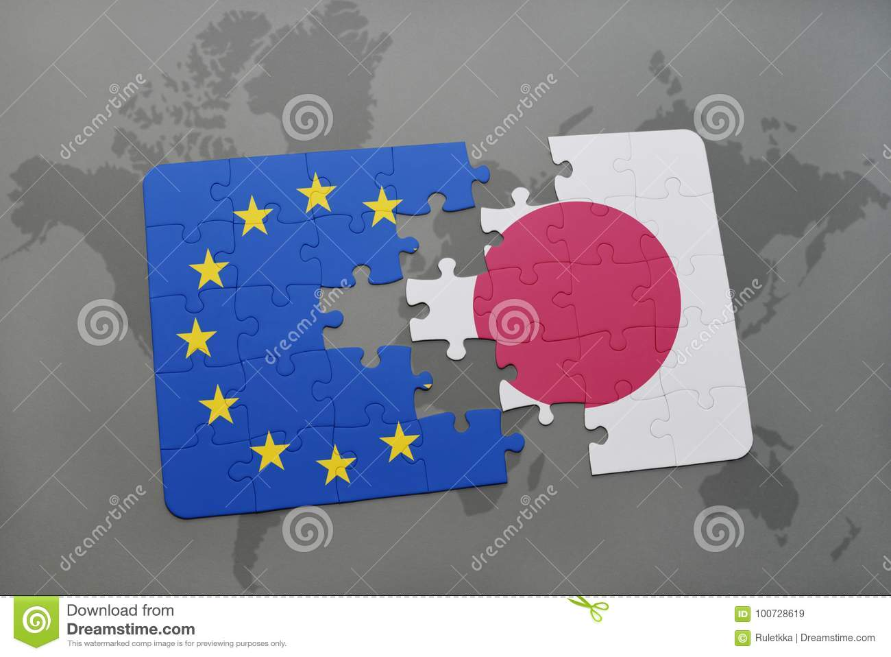 puzzle with the national flag of japan and european union on a world map