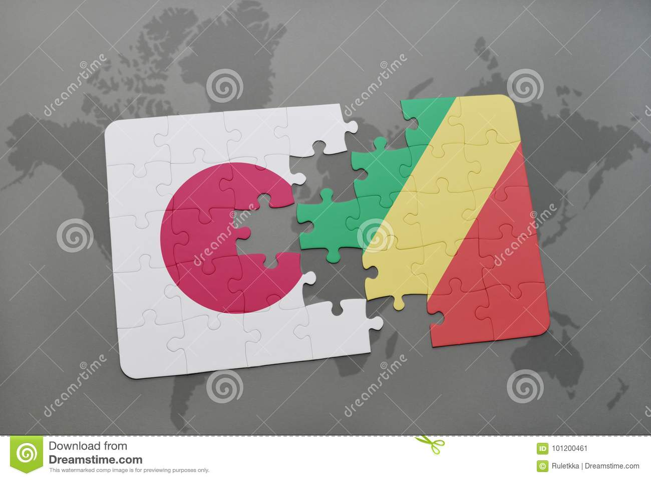 puzzle with the national flag of japan and republic of the congo on a world map background.