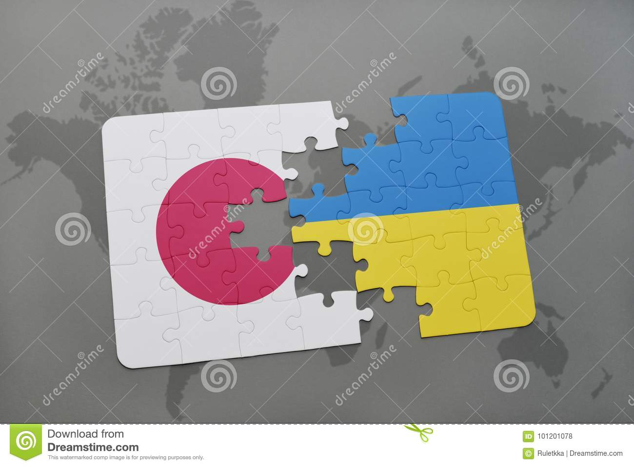 puzzle with the national flag of japan and ukraine on a world map background.