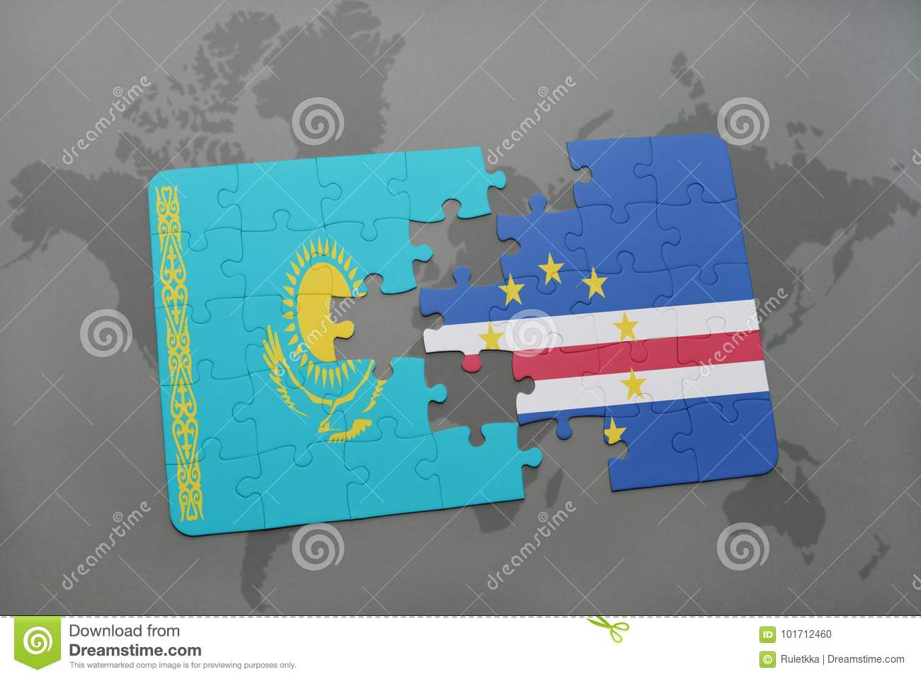 Puzzle With The National Flag Of Kazakhstan And Cape Verde On A