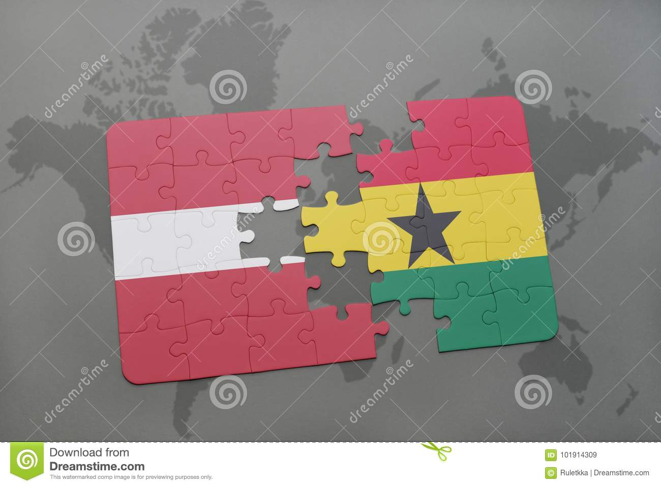 Puzzle with the national flag of latvia and ghana on a world map download puzzle with the national flag of latvia and ghana on a world map stock illustration gumiabroncs Choice Image
