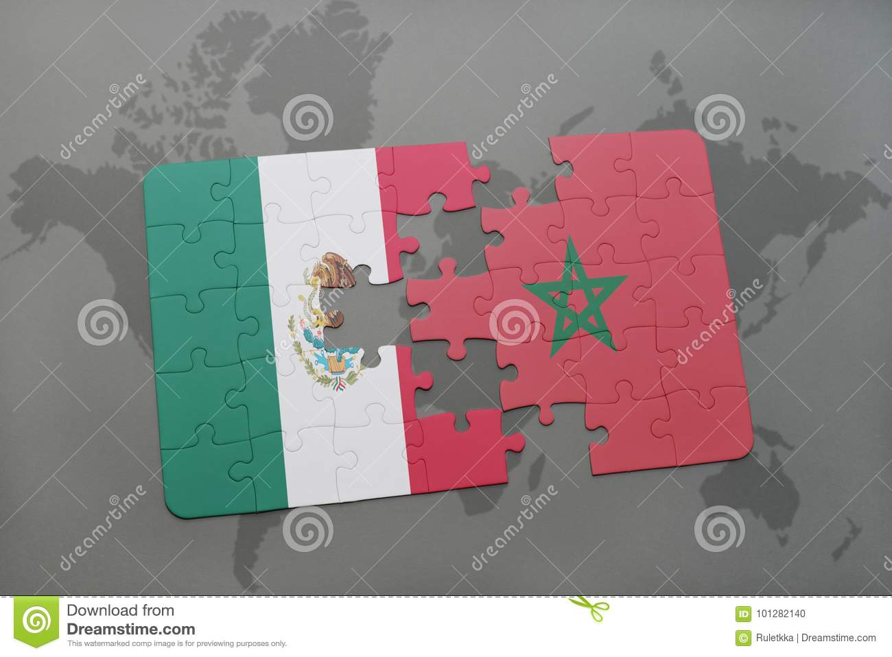 Puzzle With The National Flag Of Mexico And Morocco On A World Map ...