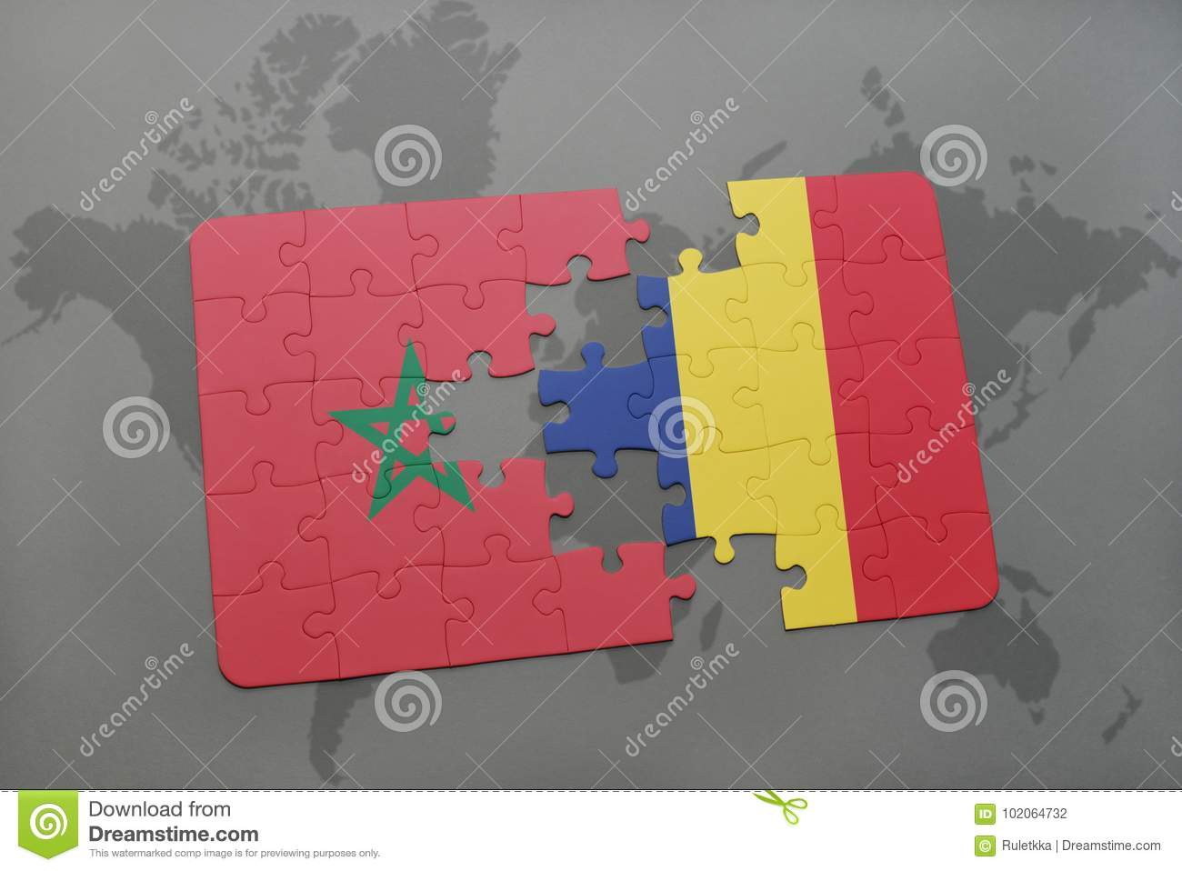 puzzle with the national flag of morocco and chad on a world map